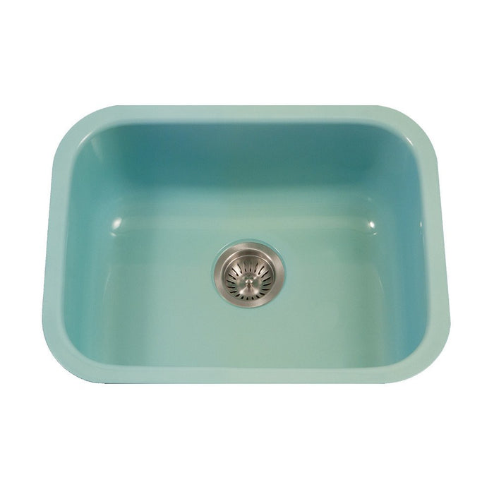 Houzer - Houzer PCS-2500 Porcela Series Porcelain Enamel Steel Undermount Single Bowl Kitchen Sink - Mint - Kitchen Sink - Undermount  - Big Frog Supply - 7