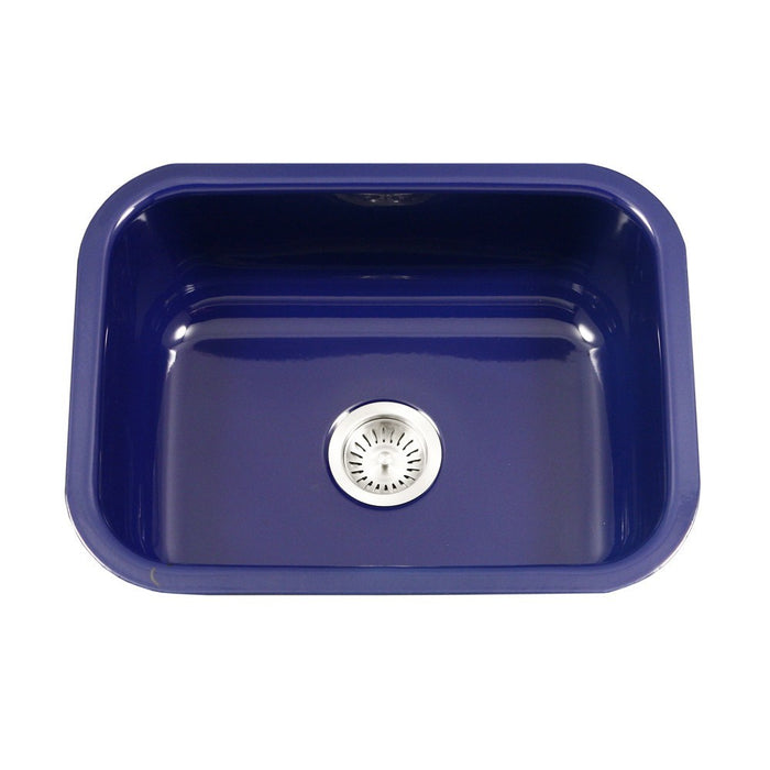 Houzer - Houzer PCS-2500 Porcela Series Porcelain Enamel Steel Undermount Single Bowl Kitchen Sink - Navy Blue - Kitchen Sink - Undermount  - Big Frog Supply - 8