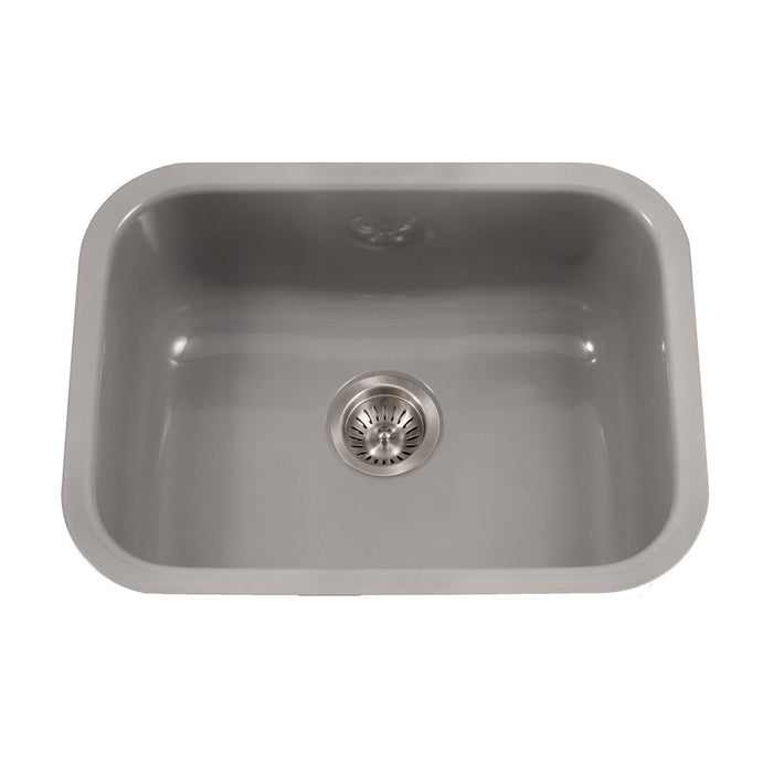 Houzer - Houzer PCS-2500 Porcela Series Porcelain Enamel Steel Undermount Single Bowl Kitchen Sink - Slate - Kitchen Sink - Undermount  - Big Frog Supply - 9