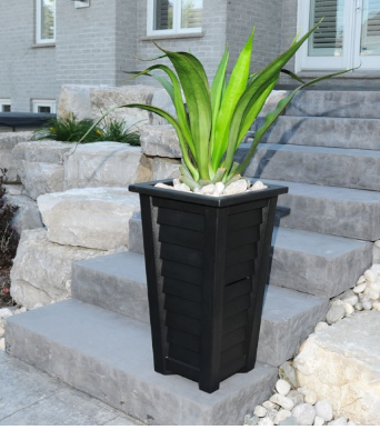 "Mayne - Lakeland 28"" Tall Planter - Black"
