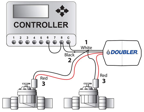 DOUBLER - 2 Valves on One Wire / Expand or Repair Your Irrigation System on wiring sprinkler system, lawn sprinkler zone valves, sprinkler system valves, wiring sprinkler repair, wiring a solenoid valve, water sprinkler valves, arduino water valves, wiring relays for power windows,