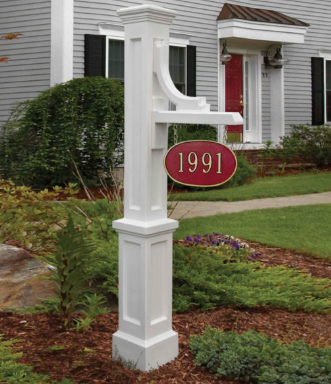 Mayne - Woodhaven Address Sign Post - White