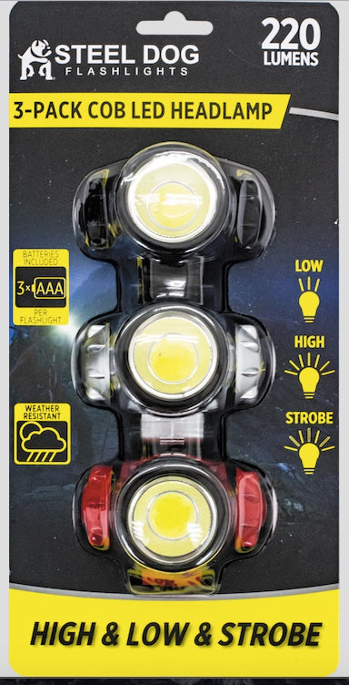 Steel Dog Flashlights 3pk Cob LED Headlamp (12pc case)