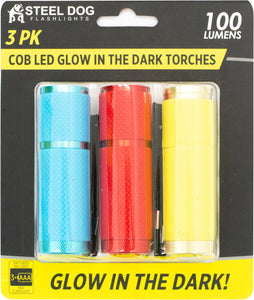 Steel Dog 3pk Cob LED Glow In The Dark Torches (16pc case)