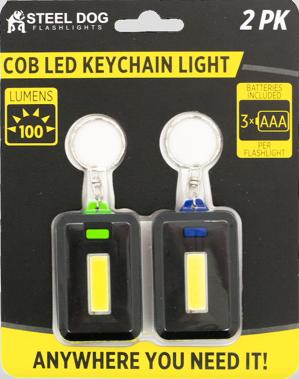 Steel Dog 2pk Cob LED Key Chain Light (48pc case)