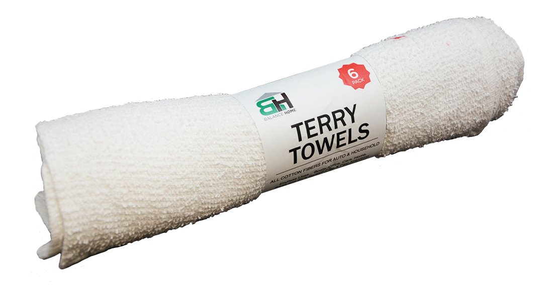 6pk Terry Towels - White (12pc case)