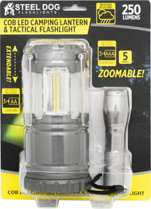 Steel Dog 2pk Combo Cob LED Camping Lantern & Tactical Flashlight (8pc case)