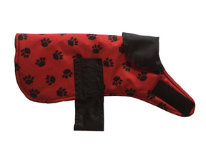 Red paw print waterproof coat