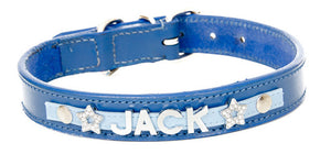 Blue Personalised Leather Collar