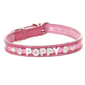 Dark Pink Personalised Leather Collar