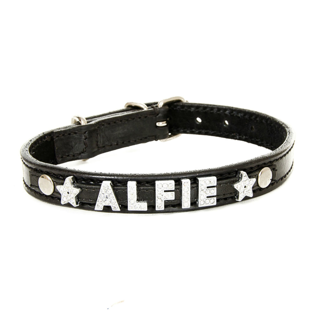 Black Personalised Leather Collar