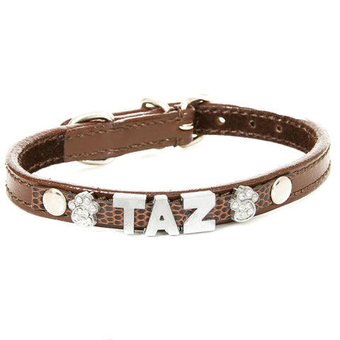 Brown Personalised Leather Collar