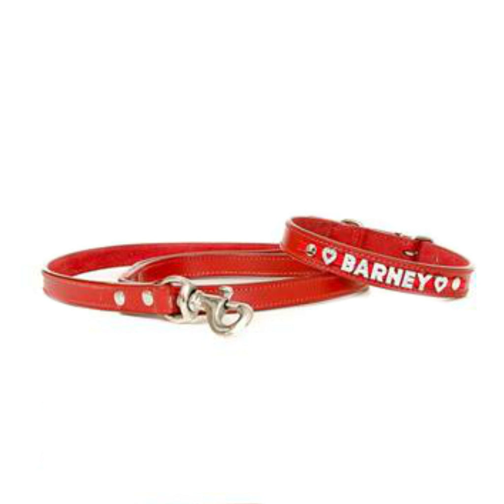 Red Personalised Leather Collar