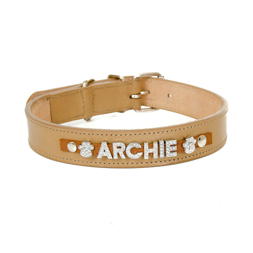 Tan Personalised Leather Collar