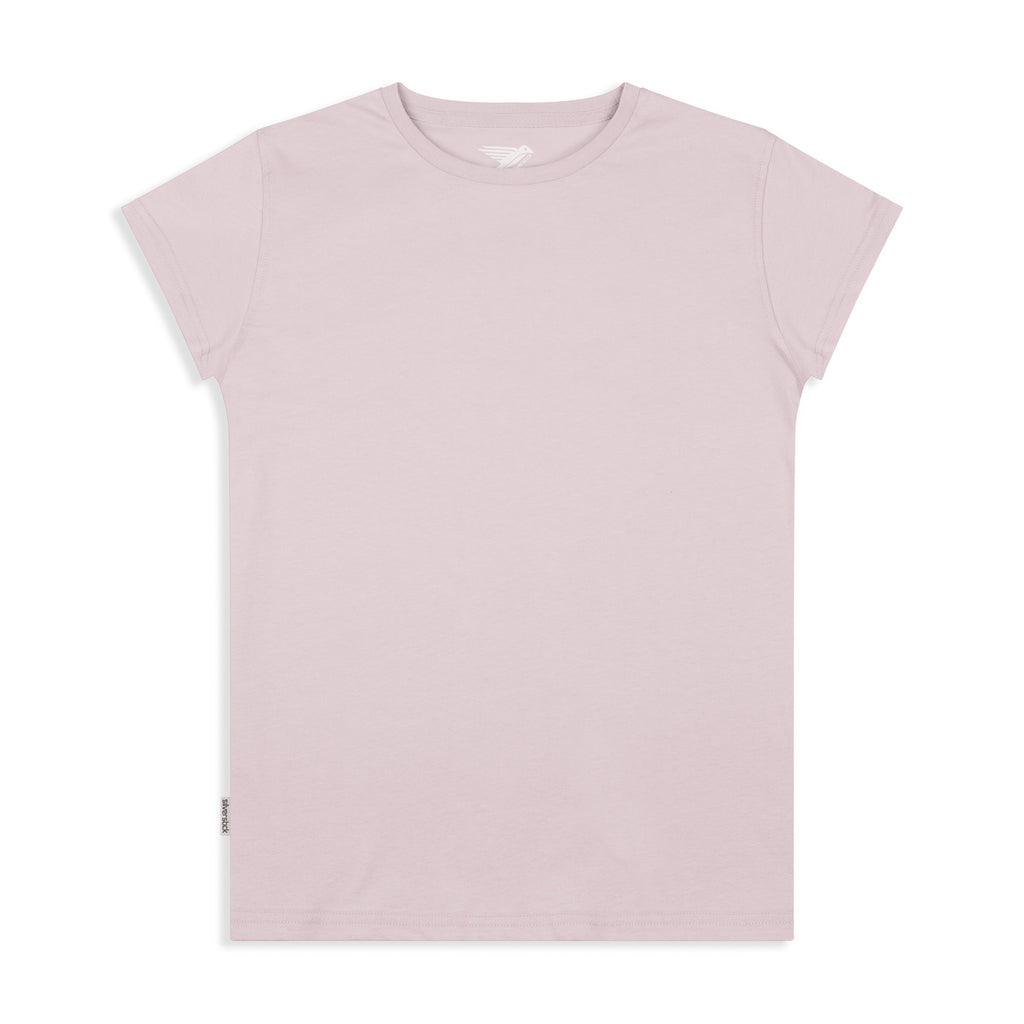 silverstick womens adventure organic cotton t shirt pale lilac front