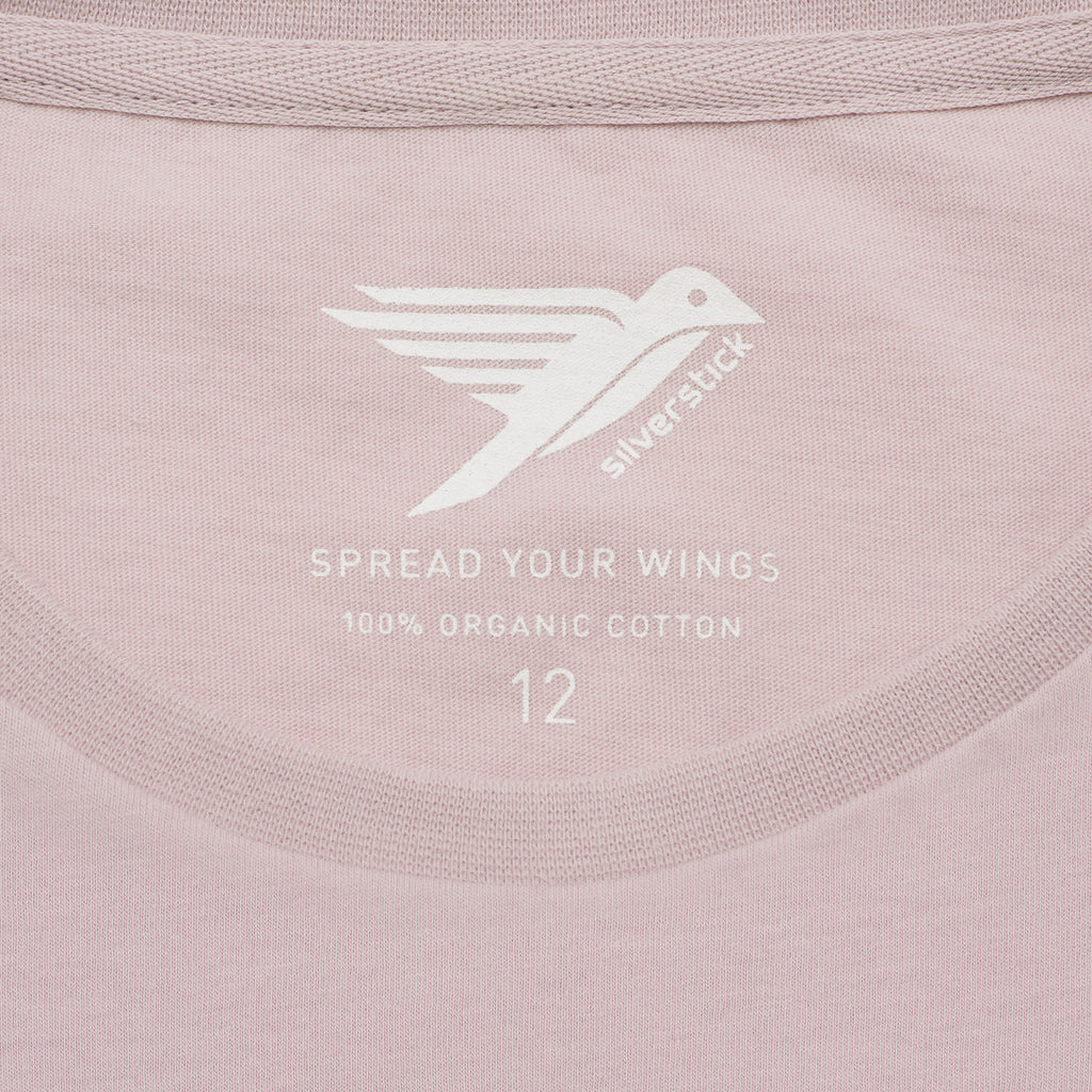 silverstick womens adventure organic cotton t shirt pale lilac spread your wings
