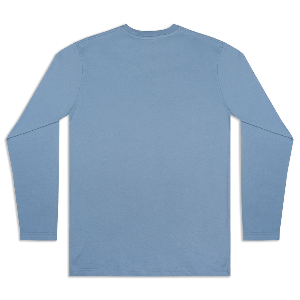 Silverstick Mens Blank Organic Cotton Long Sleeve T Shirt Faded Denim Back