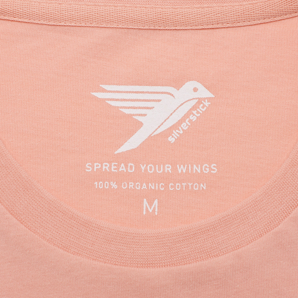 Silverstick Mens Adventure Organic Cotton T Shirt Antique Pink Spread Your Wings
