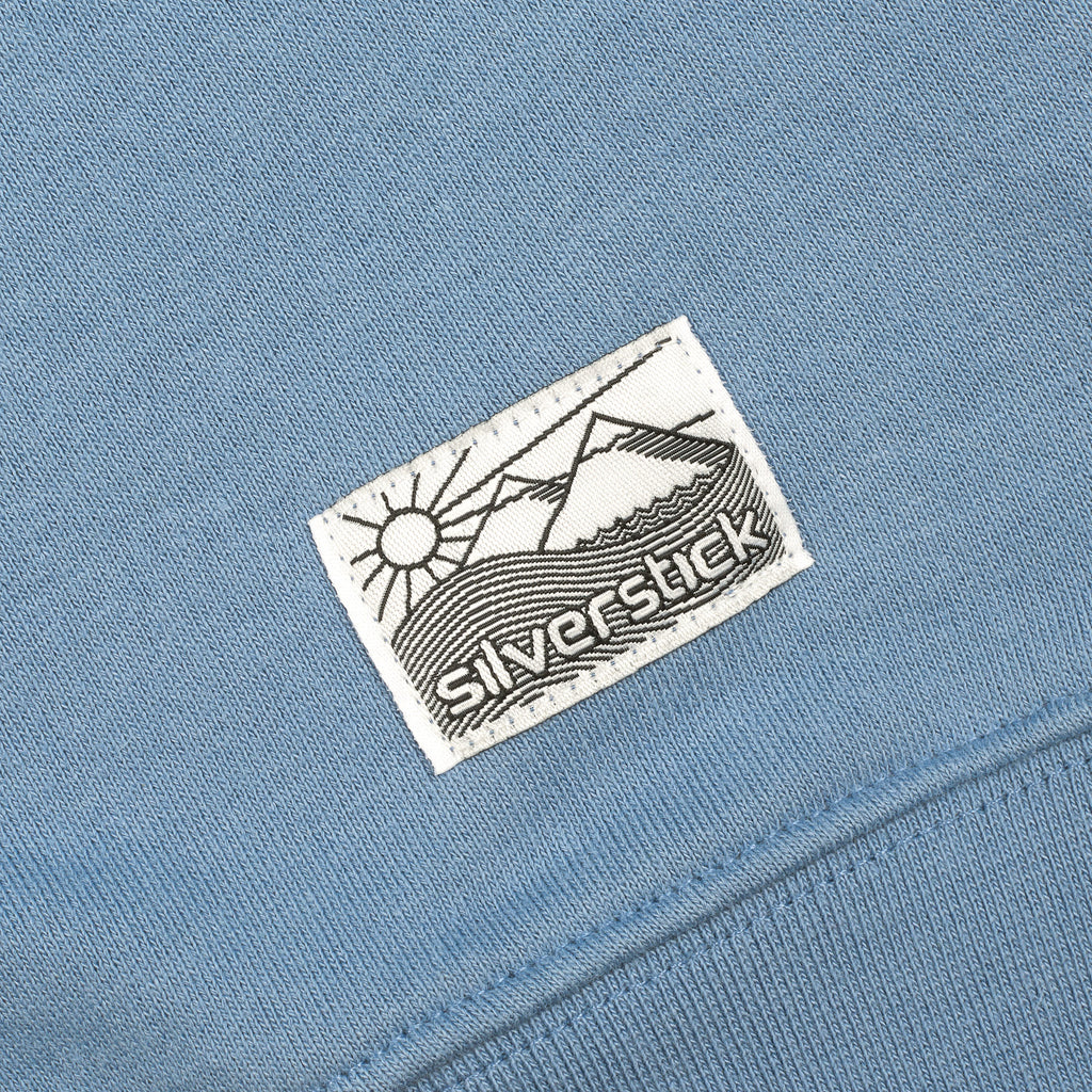 silverstick mens organic cotton hoodie nias faded denim patch label
