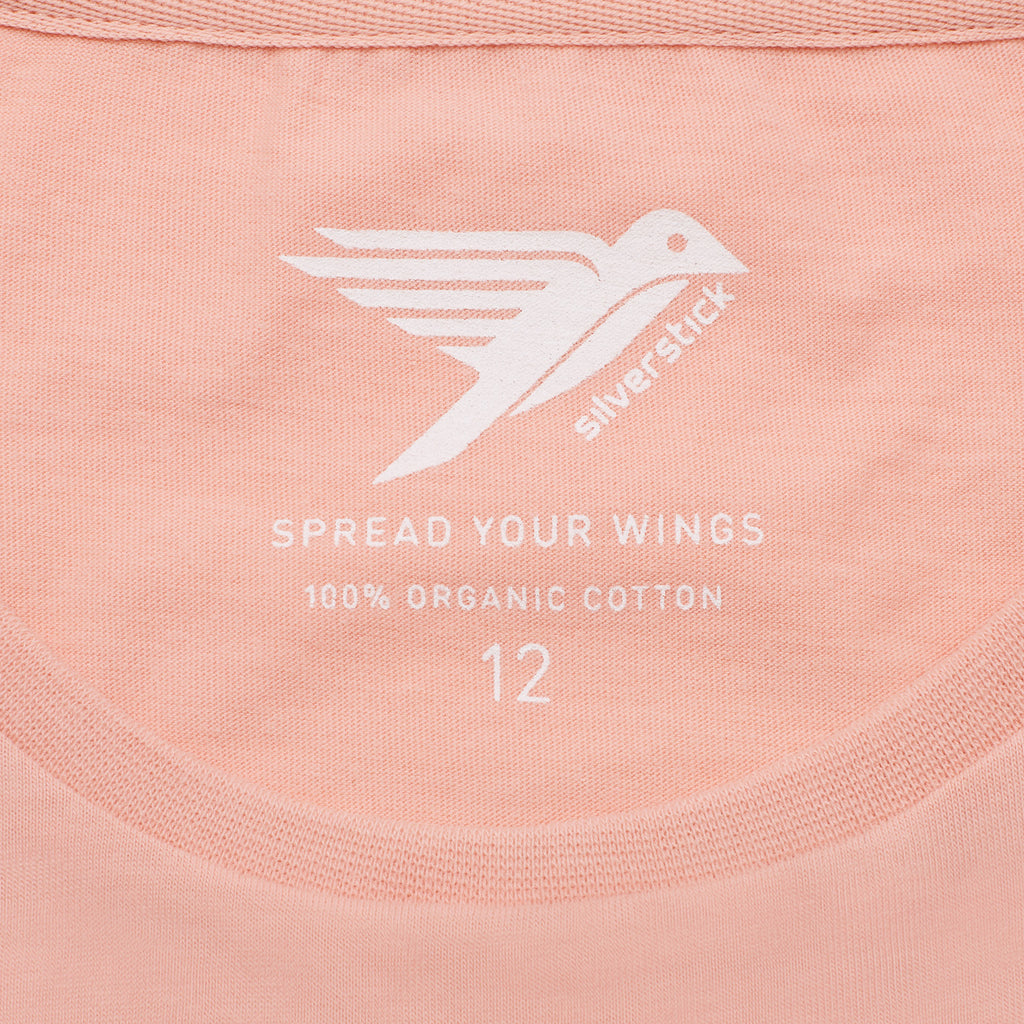 silverstick womens adventure organic cotton t shirt antique pink spread your wings