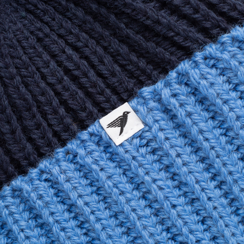 silverstick merino wool snowdon navy bobble hat label