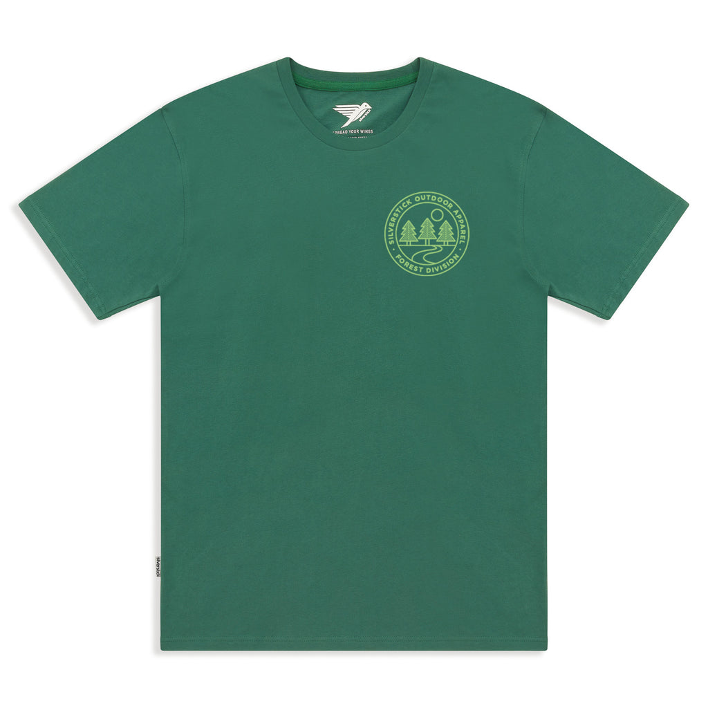 silverstick mens organic cotton forest division hunter green tee