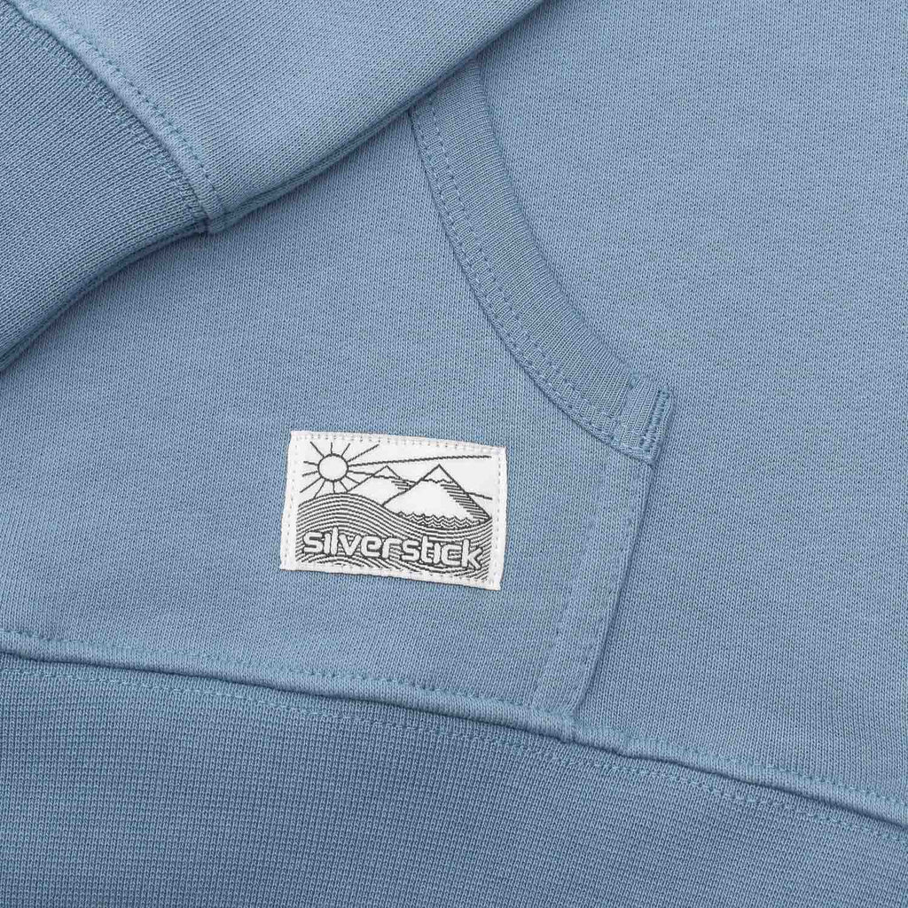 silverstick mens organic cotton hoodie ellerton faded denim patch label