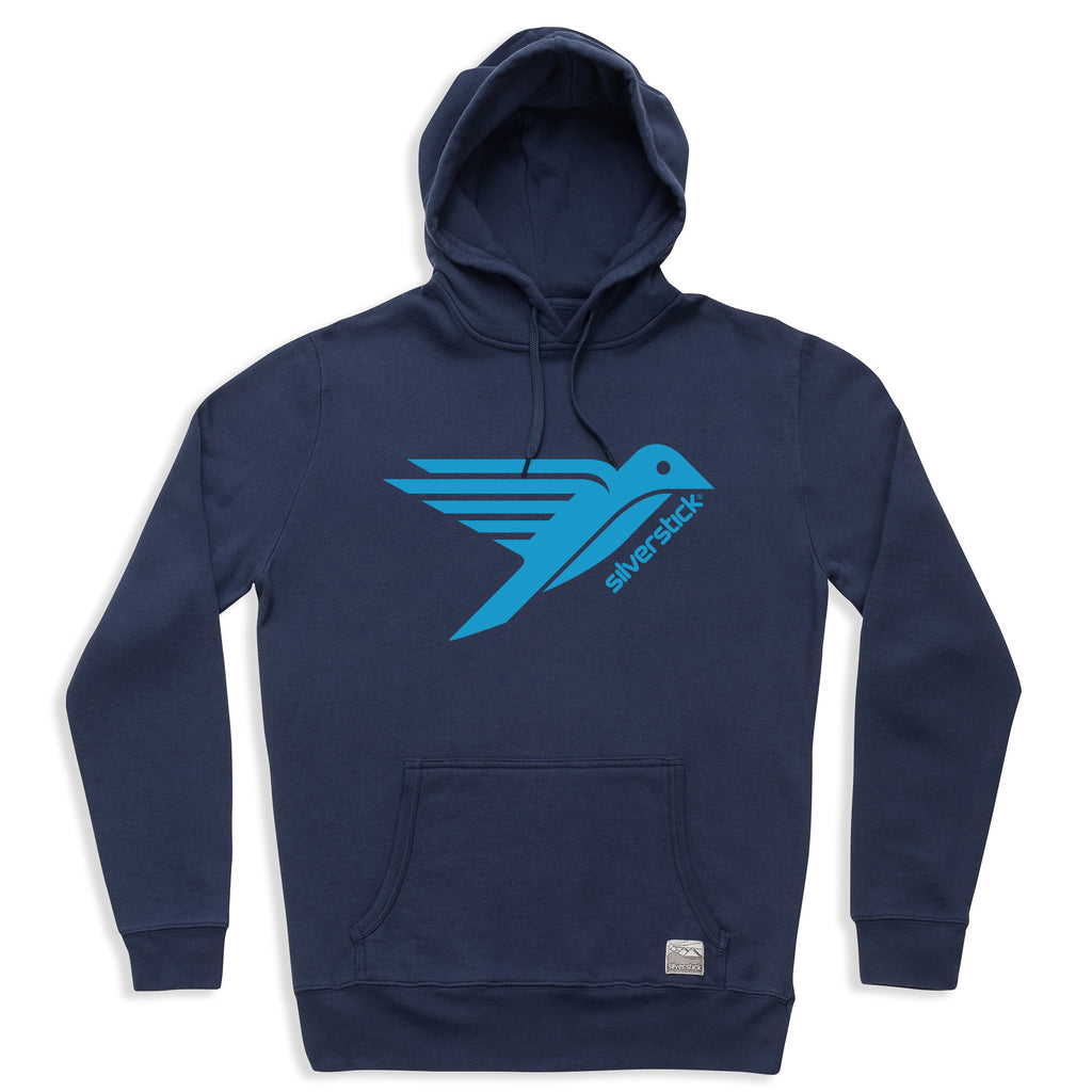 silverstick mens organic cotton hoodie logo navy front