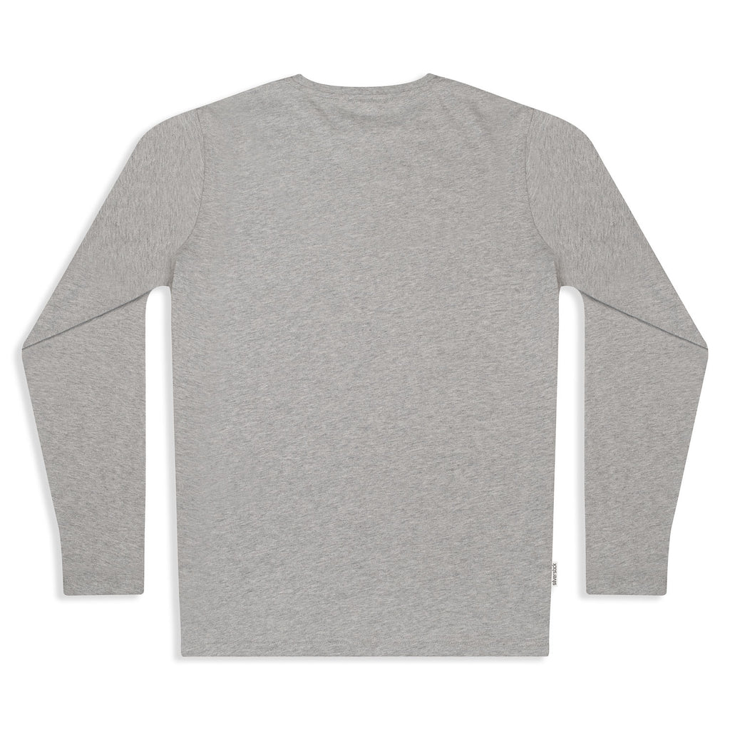 silverstick mens organic cotton t shirt long sleeve ash marl back