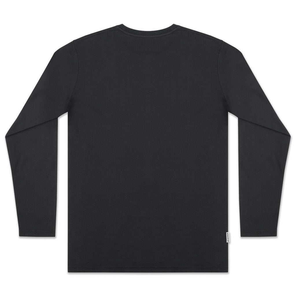 silverstick mens organic cotton t shirt long sleeve charcoal back