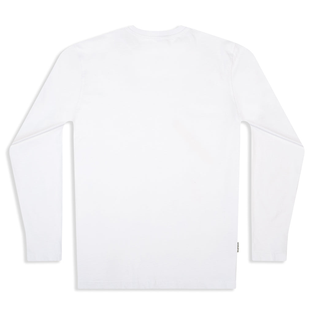 Silverstick Mens Blank Organic Cotton Long Sleeve T Shirt White Back