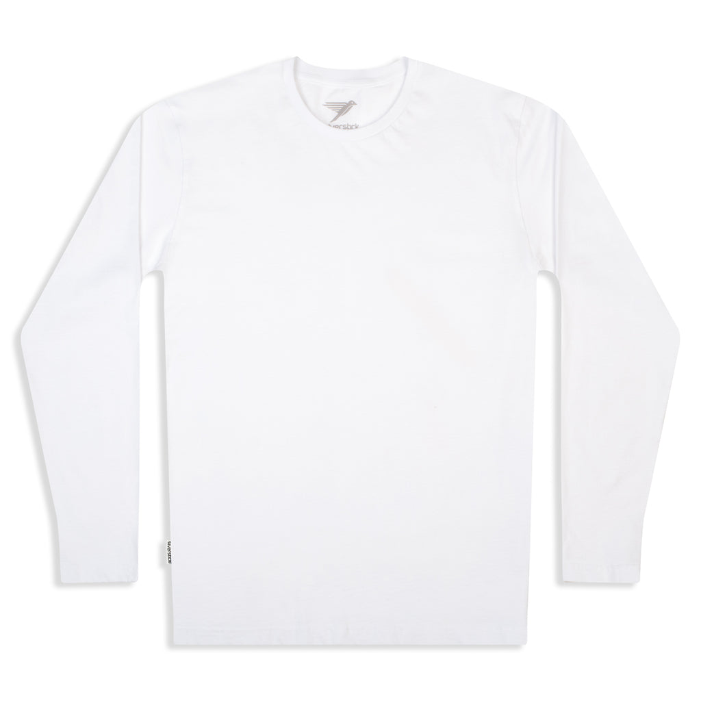 Silverstick Mens Blank Organic Cotton Long Sleeve T Shirt White Front