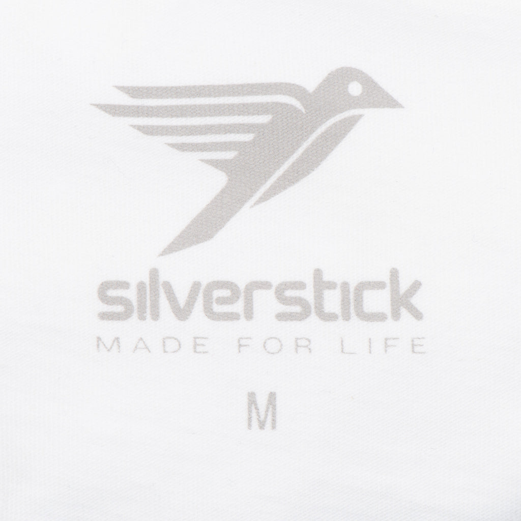 silverstick mens organic cotton t shirt long sleeve wave white neck label