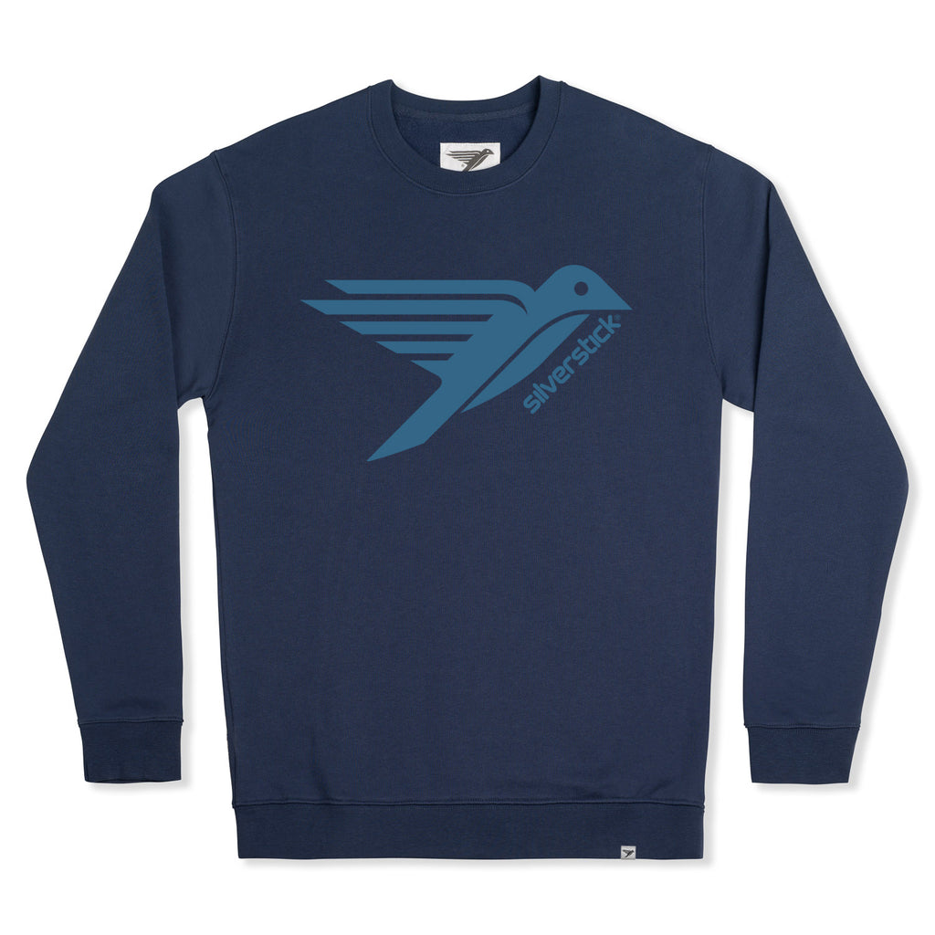silverstick mens organic cotton sweat arugam logo navy front