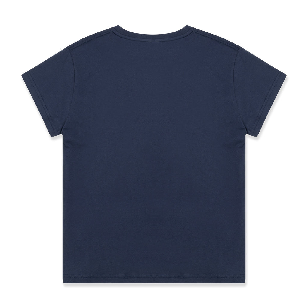 silverstick womens adventure organic cotton t shirt boxy navy back