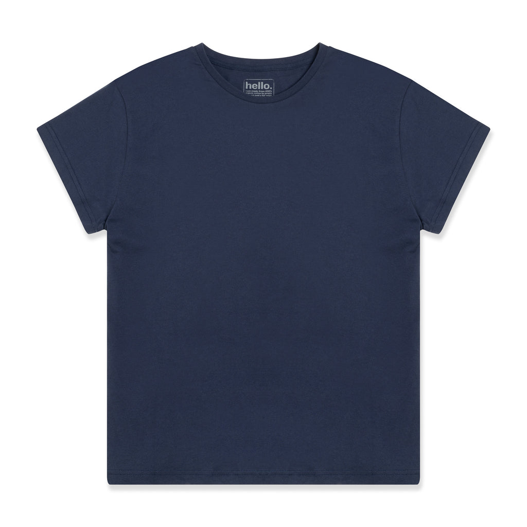 silverstick womens adventure organic cotton t shirt boxy navy front