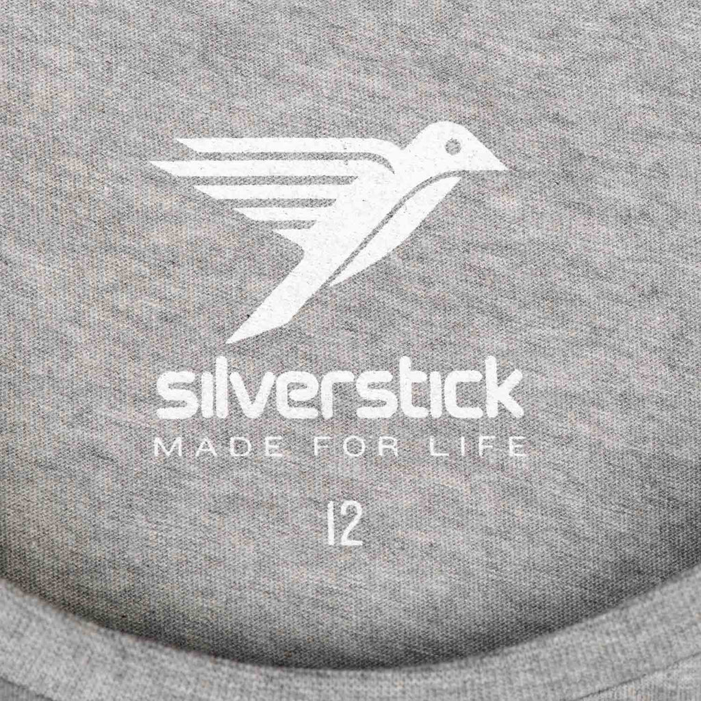 Silverstick Womens Blank Organic Cotton Long Sleeve T Shirt Ash Marl Neck Print