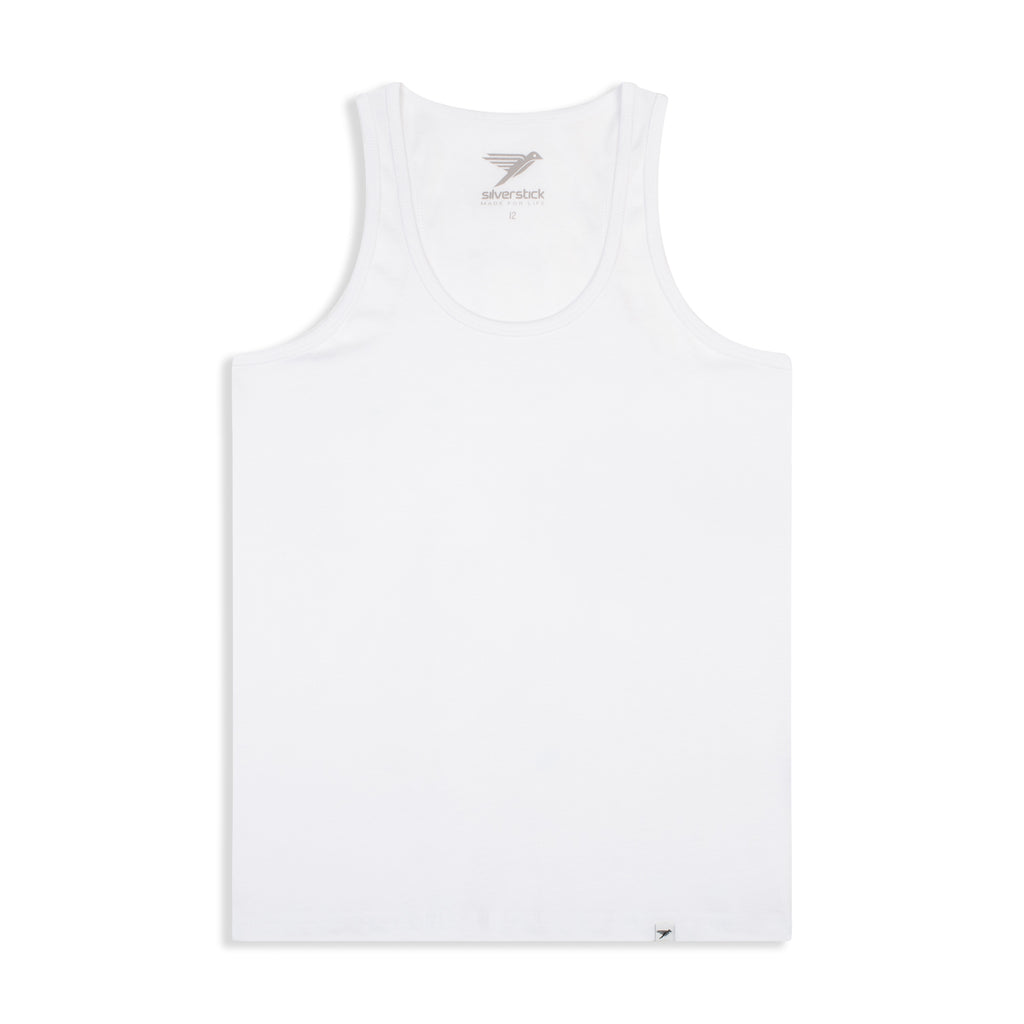 Silverstick Womens Blank Organic Cotton Vest Top White Front