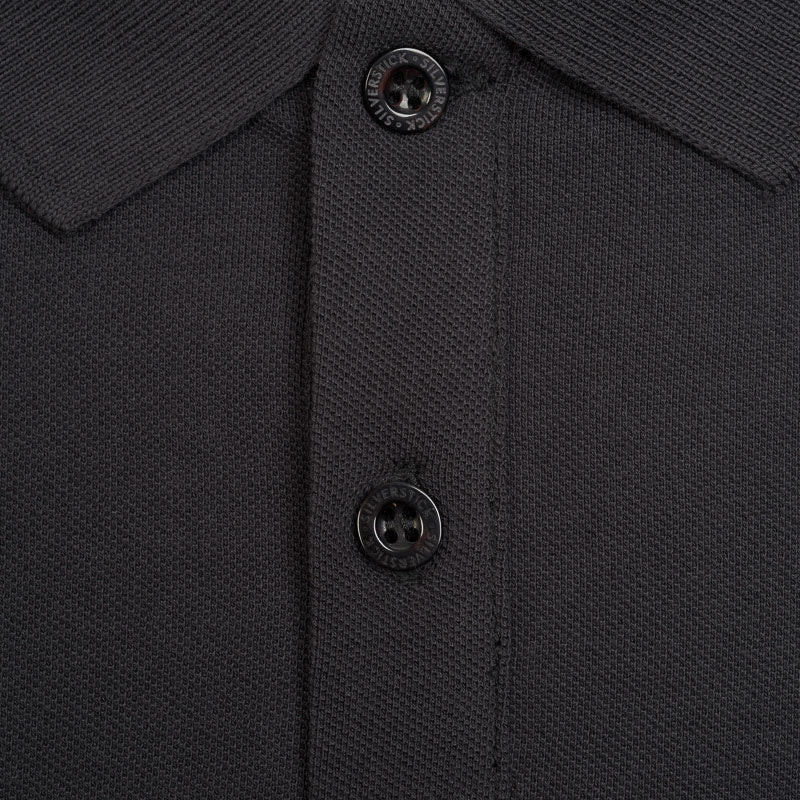 Silverstick columbus organic cotton polo shirt charcoal button