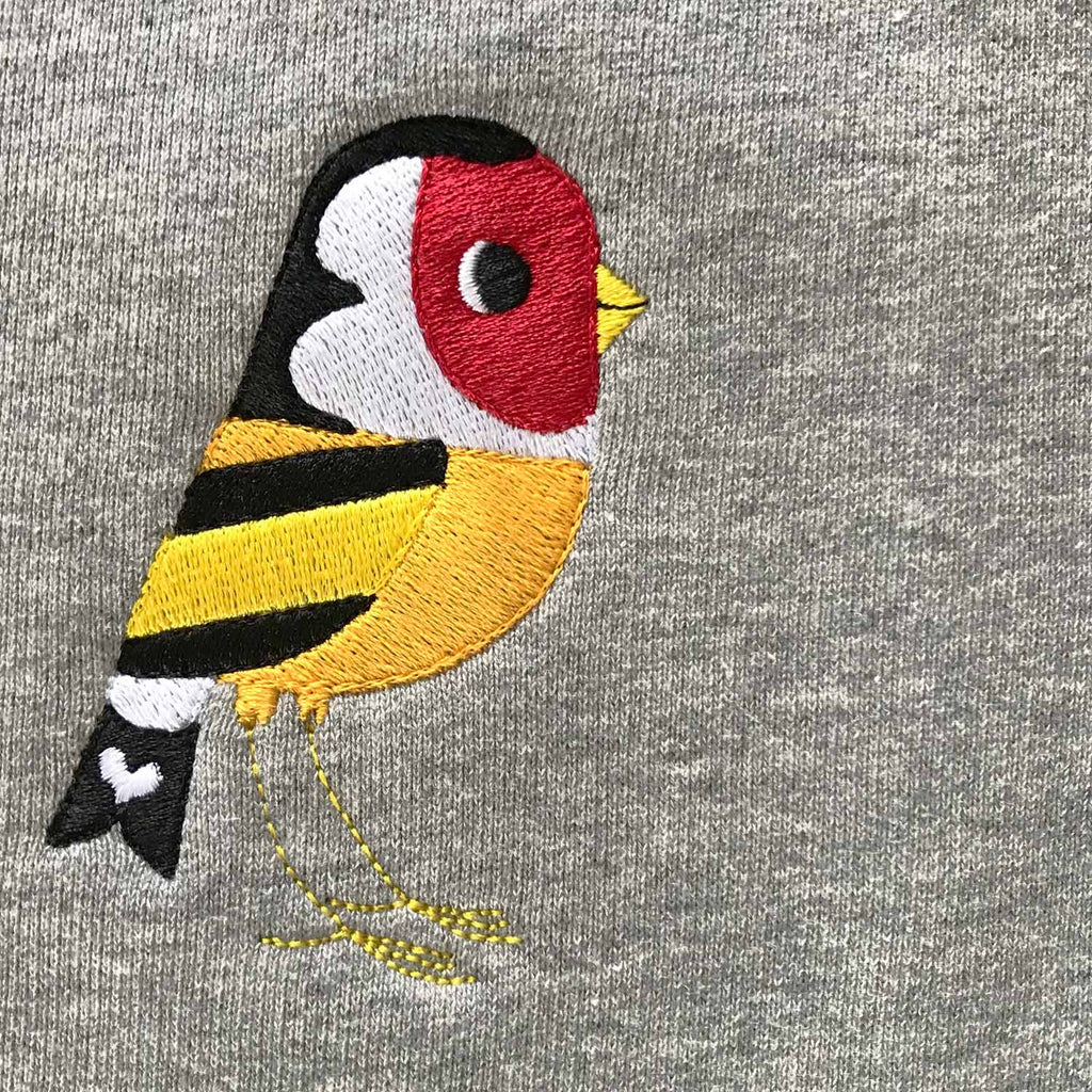 Silverstick mens matt sewell Goldfinch organic cotton sweat embroidery