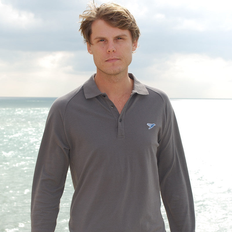 silverstick mens organic cotton greenwood long sleeve slate polo shirt sussex