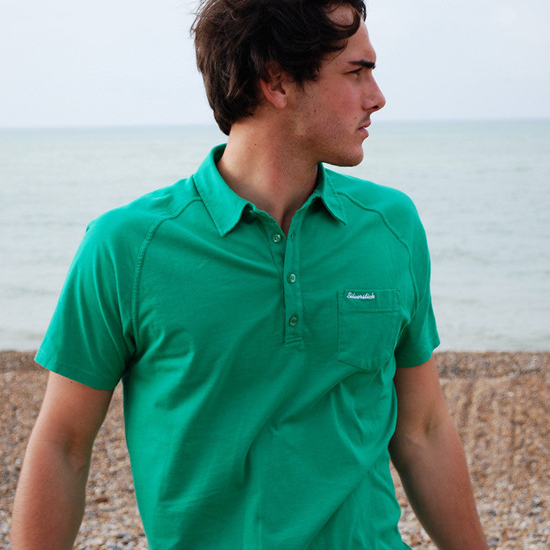 silverstick mens organic cotton lopez forest green polo shirt adventure