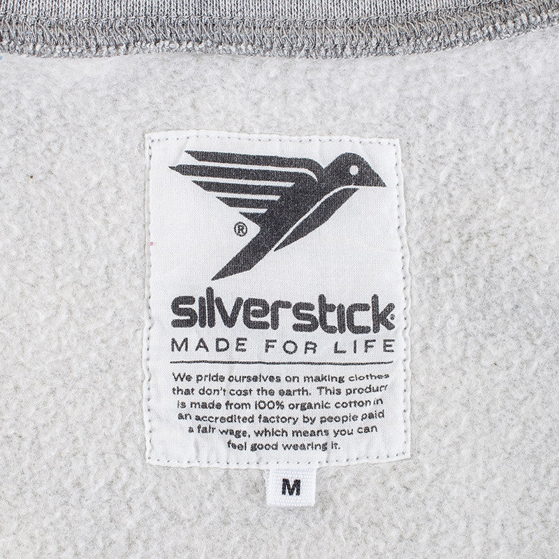 silverstick mens organic cotton sweat arugam logo ash marl neck label