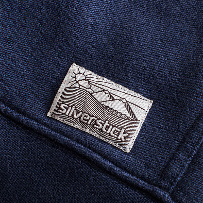 silverstick mens organic cotton tobias navy zip hoodie patch label