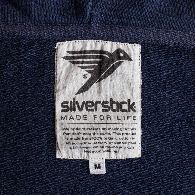 silverstick mens organic cotton tobias navy zip hoodie printed label