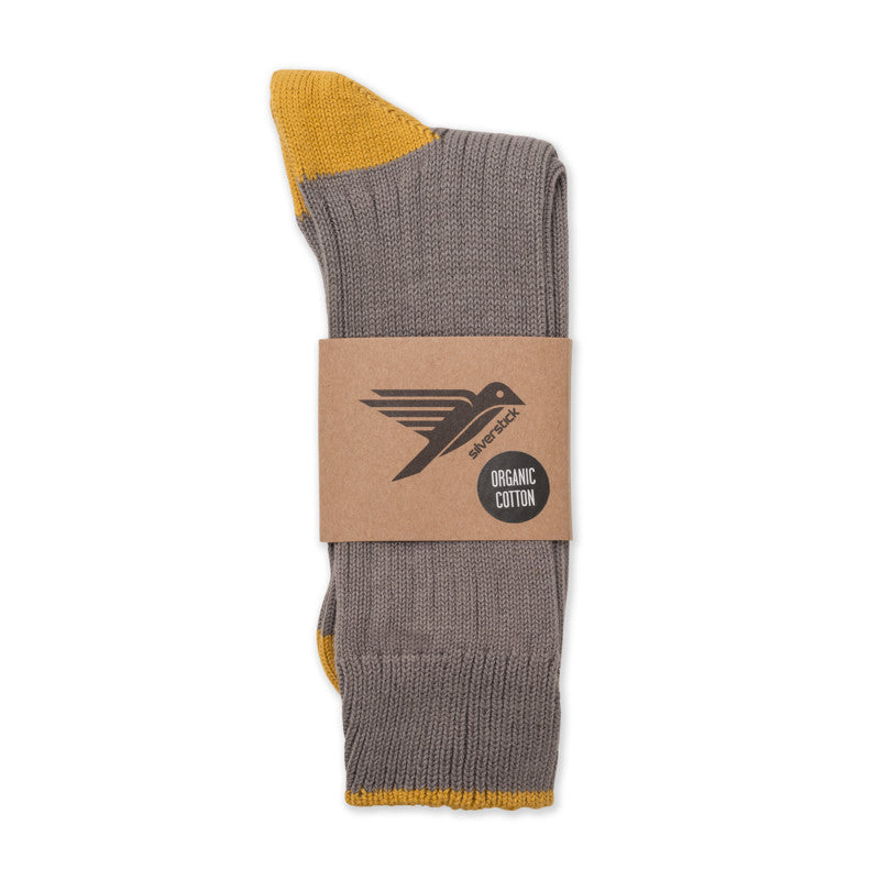 silverstick organic cotton caburn granite contrast day sock