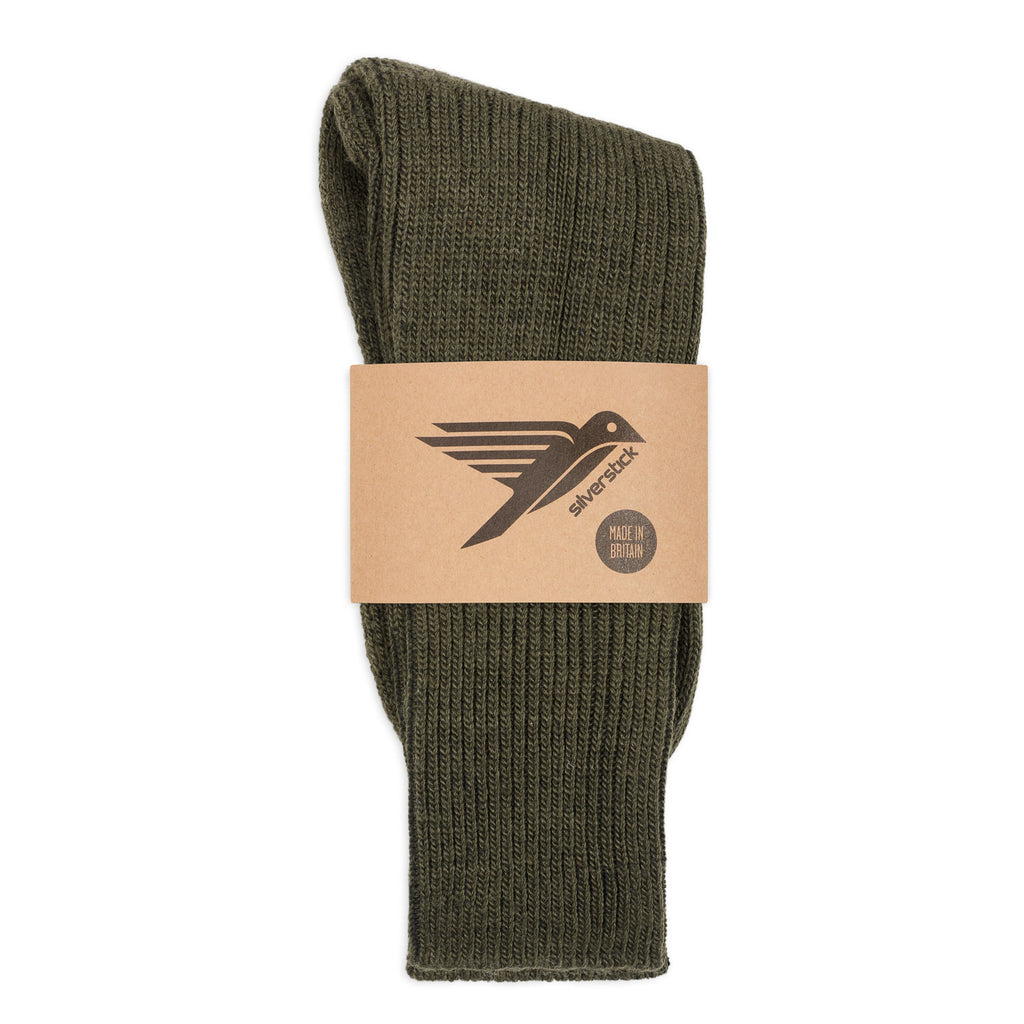 silverstick natural wool alpine sock olive