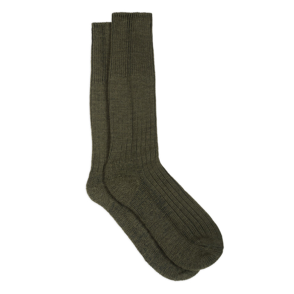 silverstick natural wool alpine sock olive full length
