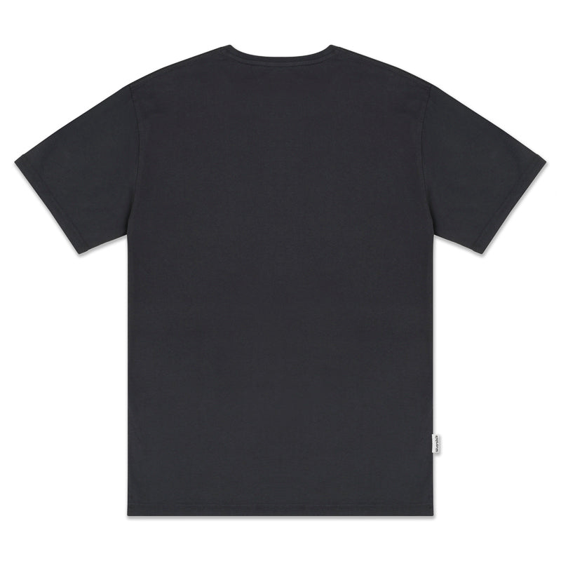 mens adventure organic cotton charcoal t shirt back