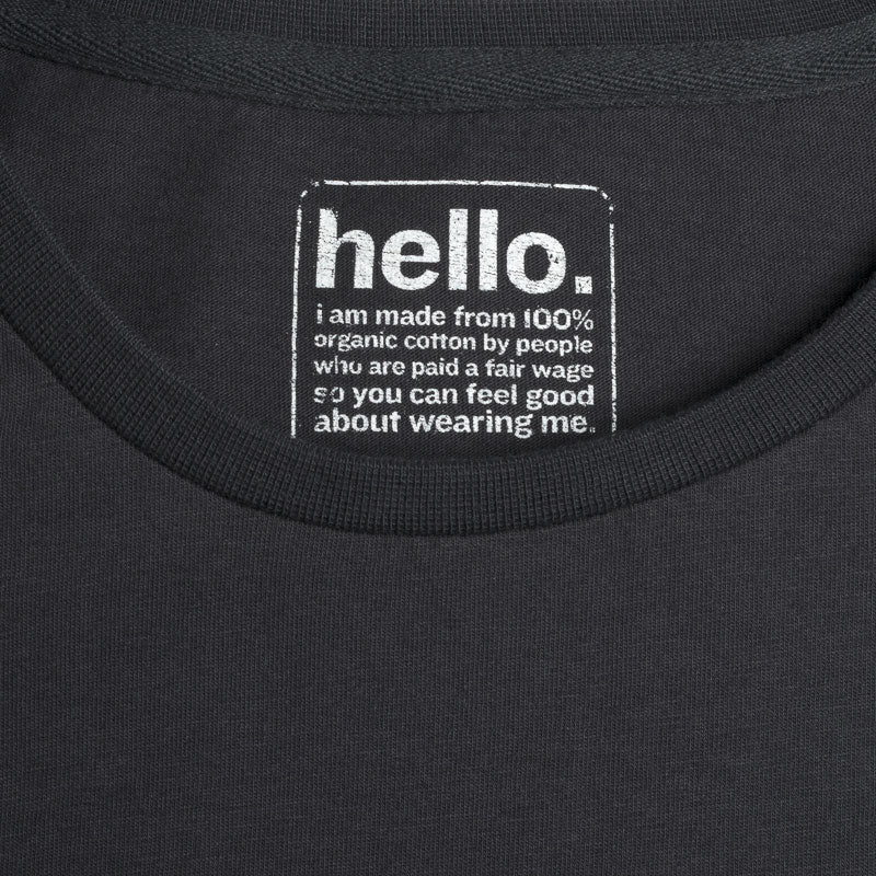 mens adventure organic cotton charcoal t shirt label